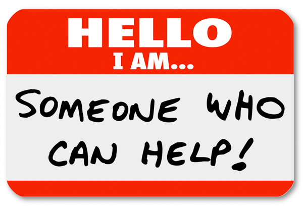 "Name tag: ""Hello, I am... someone who can help"""