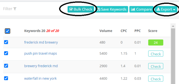 Bulk Check Scores in Keysearch