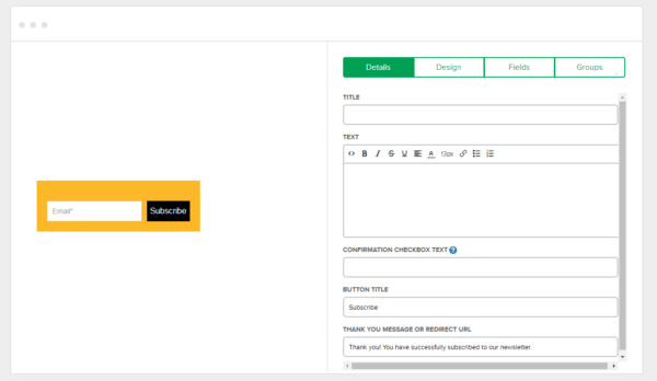 Designing Forms on MailerLite