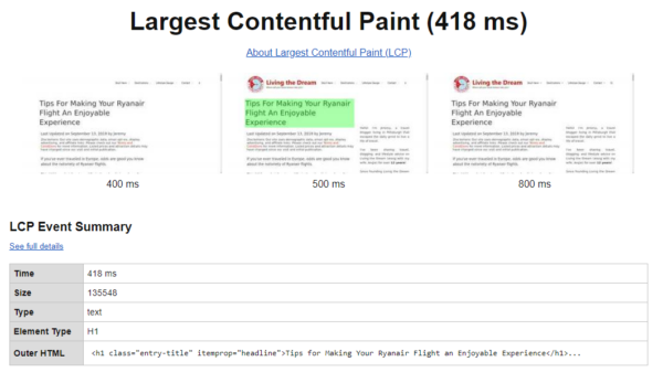 Find Largest Contentful Paint on WebPageTest