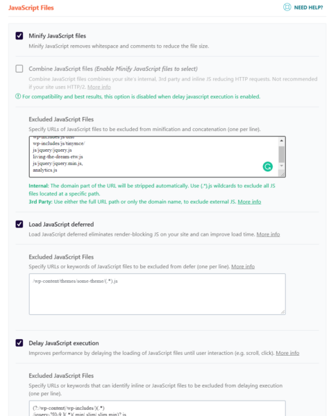 WP Rocket CSS and Javascript Settings